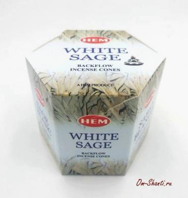 Благовония Пуля White Sage, Белый Шалфей, Стелющийся дым, HEM конусы 40 шт.