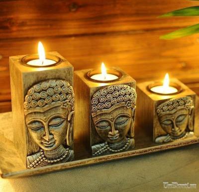 """Подсвечник деревянный """"Будда"""", 3 предмета"""